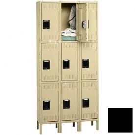 Tennsco Stee Locker TTS-121524-3 03 - Triple Tier w/Legs 3 Wide 12x15x24 Assembled, Black