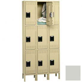 Tennsco Stee Locker TTS-121524-3 053 - Triple Tier w/Legs 3 Wide 12x15x24 Assembled, Light Grey