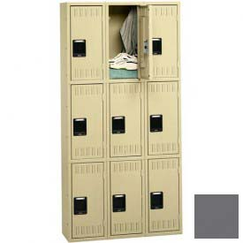 Tennsco Stee Locker TTS-121524-C 02 - Triple Tier No Legs 3 Wide 12x15x24 Assembled, Medium Grey