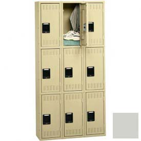 Tennsco Stee Locker TTS-121524-C 053 - Triple Tier No Legs 3 Wide 12x15x24 Assembled, Light Grey