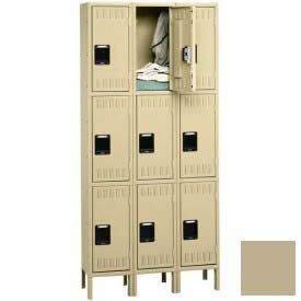 Tennsco Stee Locker TTS-121824-3 214 - Triple Tier w/Legs 3 Wide 12x18x24 Assembled, Sand