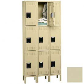 Tennsco Stee Locker TTS-121824-3 216 - Triple Tier w/Legs 3 Wide 12x18x24 Assembled, Putty