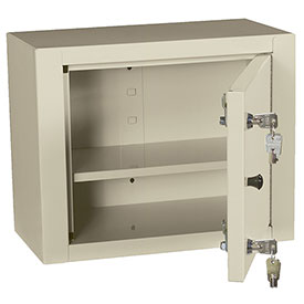 "Harloff Narcotics Box, Medium, Single Door, Double Lock, 15""W x 8""D x 12""H - Beige"