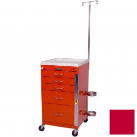 Harloff Mini Line Short Five Drawer Emergency Cart Specialty Package, Red - 3145B-EMG