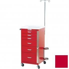 Harloff Mini Line Tall Six Drawer Emergency Cart Specialty Package, Red - 3156B-EMG