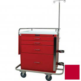 Harloff Classic Short Four Drawer Emergency Crash Cart Specialty Package, Red - 6301