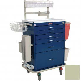 Harloff Classic Six Drawer Anesthesia Cart Key Lock Deluxe Package, Sand - 6456