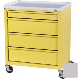 Harloff Compact Economy Treatment Cart with Four Drawers, Light Gray - ETC-4