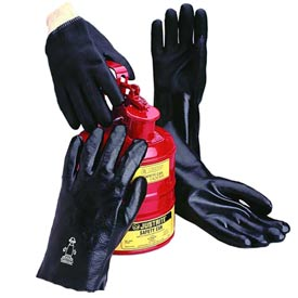 Jersey Lined PVC Gloves, Knit Wrist, Black, Large by