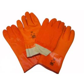 "Foam Lined PVC Gloves, 10 "", Fluorescent Orange, Large by"