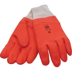 Foam Lined PVC Gloves, Knit Wrist, Fluorescent Orange, Large by