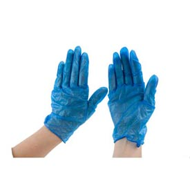 "Powdered 9"" Vinyl Gloves, Blue, Large by"