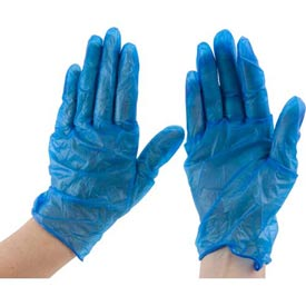 "Powder-Free 9"" Vinyl Gloves, Blue, Extra-Large by"