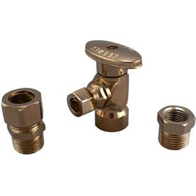 "Keeney® K2048apblf, Angle Quarter Turn Valves 1/2"" F.I.P. X 3/8"" O.D., Polished Brass - Pkg Qty 6"
