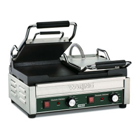 Waring WFG300 Panini Grill, Smooth Top & Bottom, 240V by