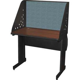 "Pronto Training Table with Carrel & Lockable Raceway, 36"" x 24"", Dark Neutral Finish/Slate Fabric"