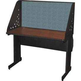 "Pronto Training Table with Carrel & Lockable Raceway, 48"" x 24"", Dark Neutral Finish/Slate Fabric"