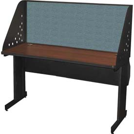 "Pronto Training Table with Carrel & Lockable Raceway, 60"" x 24"", Dark Neutral Finish/Slate Fabric"