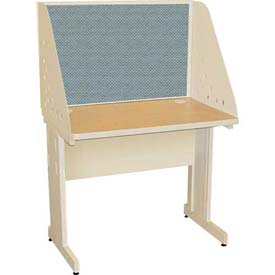 "Pronto Training Table with Carrel & Modesty Panel, 36"" x 30"", Pumice Finish/Slate Fabric"