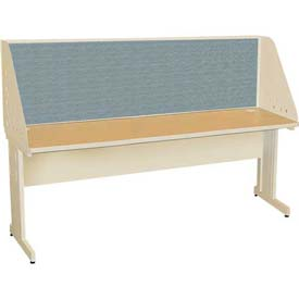 "Pronto Training Table with Carrel & Modesty Panel, 72"" x 30"", Pumice Finish/Slate Fabric"