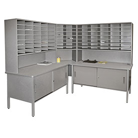 Marvel 84 Slot Corner Literature Organizer with Cabinet Slate Gray by