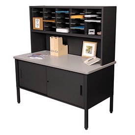 Marvel 25 Slot Literature Organizer with Riser and Cabinet- Black by