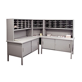 Marvel 60 Slot Literature Organizer with Riser & Cabinet Slate Gray by