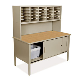 """Marvel® 25 Adjustable Slot Literature Organizer with Riser and Cabinet, 68""""H x 60""""W, Putty"""