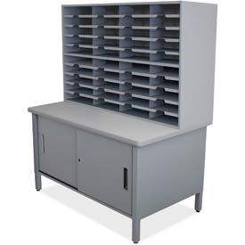 "Marvel® 40 Slot Mailroom Organizer with Cabinet, 72""H x 48""W, Slate Gray"