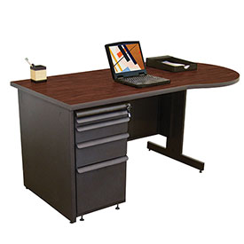"Marvel® Teachers Desk  - 60""W x 30""D - Dark Neutral/Mahogany"
