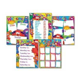 TREND® Learning Chart Combo Pack, Furry Friends Classroom Basics, 17w x 22, 5/Pack