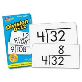 """Trend® Math Division 0-12 Flash Cards, 3"""" x 6"""", 91 Cards/Box"""