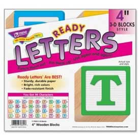 "Trend® 4"" Wooden 3-D Blocks Uppercase Ready Letters, 96 Pcs/Set"