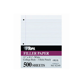 """Mediumweight 16-Lb. Filler Paper, 11x8-1/2, 5/16"""" College Rule, 500 Sheets/Pack"""