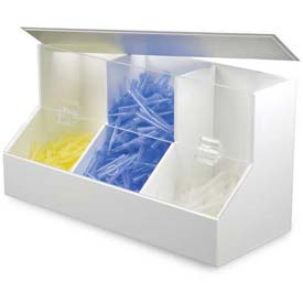 """TrippNT™ White PVC/Acrylic Large Dispensing Bin with 3 Compartments, 18""""W x 8""""D x 9""""H"""