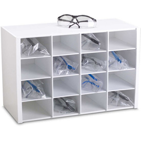 """TrippNT 50059 16 Compartments Safety Glasses Holder, PVC, White, 18""""W x..."""