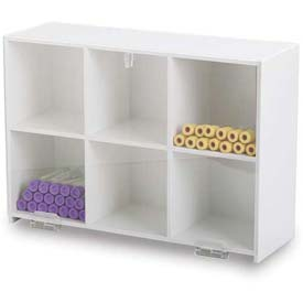 "TrippNT™ White Lab Storage Bin with 6 Compartments and Clear Hinged Door, 15""W x 5""D x 11""H"