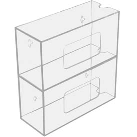 """TrippNT™ 50830 Double Side Loading Acrylic Glove Box Holder, 10""""W x 4""""D x 10""""H"""