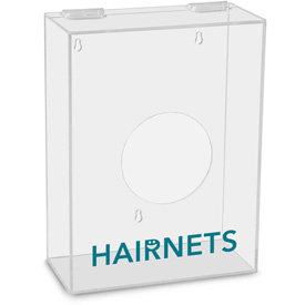 """TrippNT Hairnets Labeled Small Apparel Dispenser, 9""""W x 4""""D x 12""""H, Clear by"""