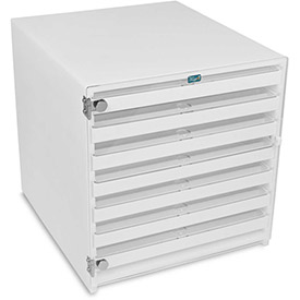 "TrippNT™ 51409 White HDPE Mega 108 Column HPLC Locking Storage Cabinet, 15""W x 16""D x 16""H"