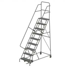 9 Step Steel Rolling Ladder - Grip Strut
