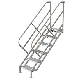 6 Step Industrial Access Stairway Ladder, Perforated - WLIS106246