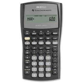 "Buy Texas Instruments Financial Calculator, BAIIPLUS, W/Case, 9-5/8"" X 6-7/8"" X 1-1/4"", Silver"