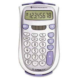"Buy Texas Instruments 8-Digit Pocket Calculator, TI1706SV, Dual Power, 3-1/5"" X 5-7/10"" X 7/10"", Grey"