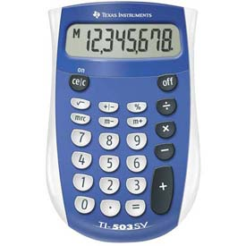 "Buy Texas Instruments 8-Digit Handheld Calculator, TI503SV, 3-1/10"" X 4-4/5"" X 7/10"", Blue/Grey"
