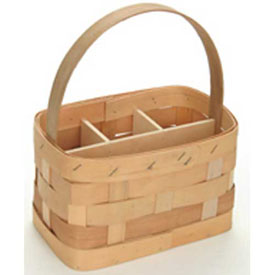 "Large Rectangle 11"" x 7"" Silverware Wood Basket with Wood Handle & Sections 4 Pc Natural Package Count 4 by"