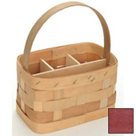 """Large Rectangle 11"""" x 7"""" Silverware Wood Basket with Wood Handle & Sections 4 Pc Cranberry Package Count 4 by"""