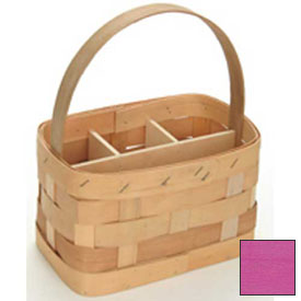 "Large Rectangle 11"" x 7"" Silverware Wood Basket with Wood Handle & Sections 4 Pc Fuschia Package Count 4 by"