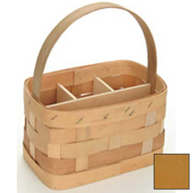 "Large Rectangle 11"" x 7"" Silverware Wood Basket with Wood Handle & Sections 4 Pc Honeycomb Package Count 4 by"