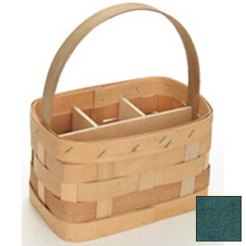 "Large Rectangle 11"" x 7"" Silverware Wood Basket with Wood Handle & Sections 4 Pc Hunter Green Package Count 4 by"